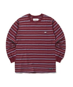 MULTI STRIPE LONG SLEEVE T-SHIRT(BURGUNDY)_CTONPRL02UP3